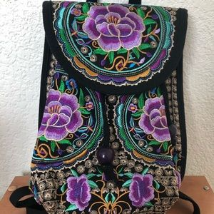 Handbags - Colorful Embroidered Backpack/Purse